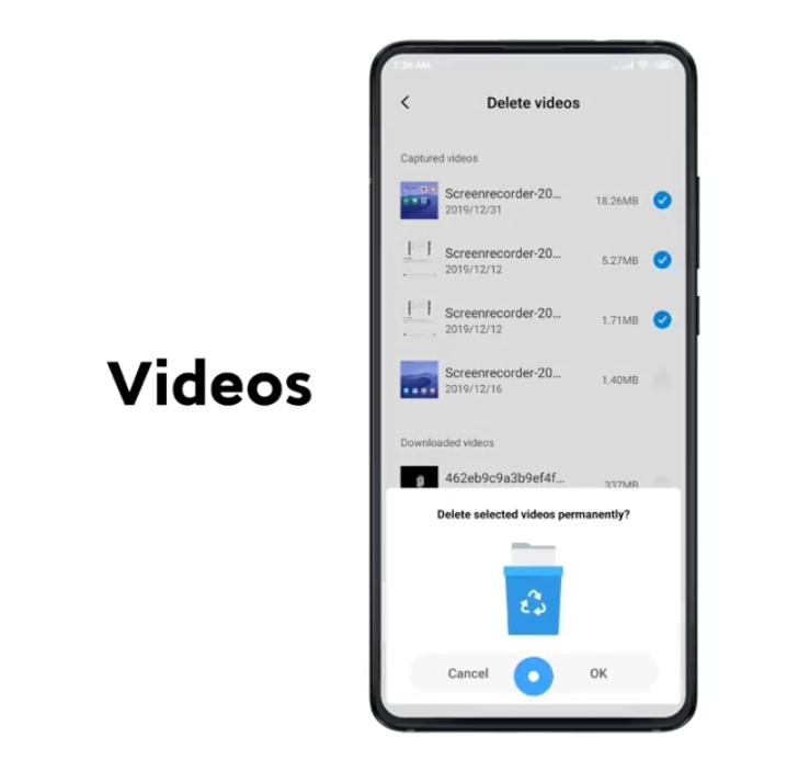 clean videos in xioami