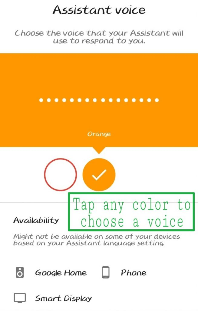 chose color to enable google assistant