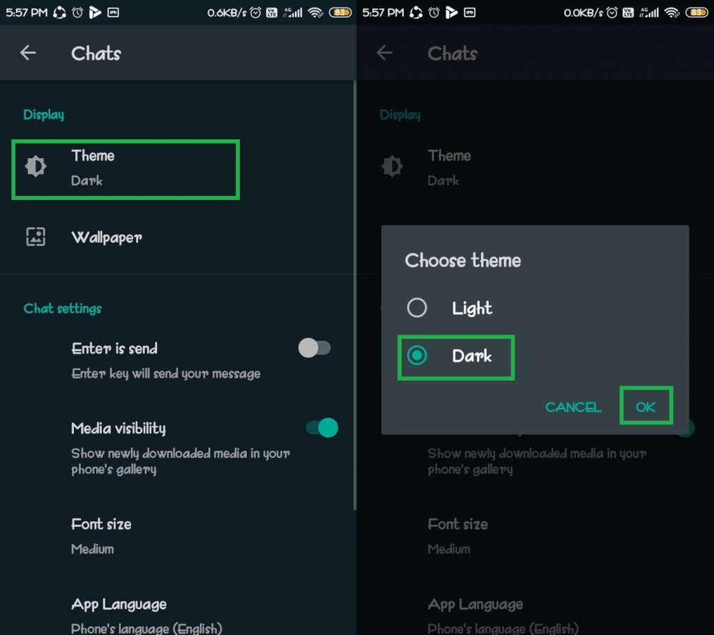 how to can enable whatsapp dark mode