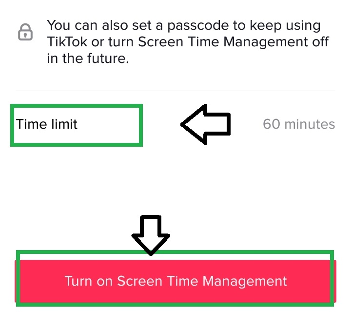 select time limit and turn on screen management