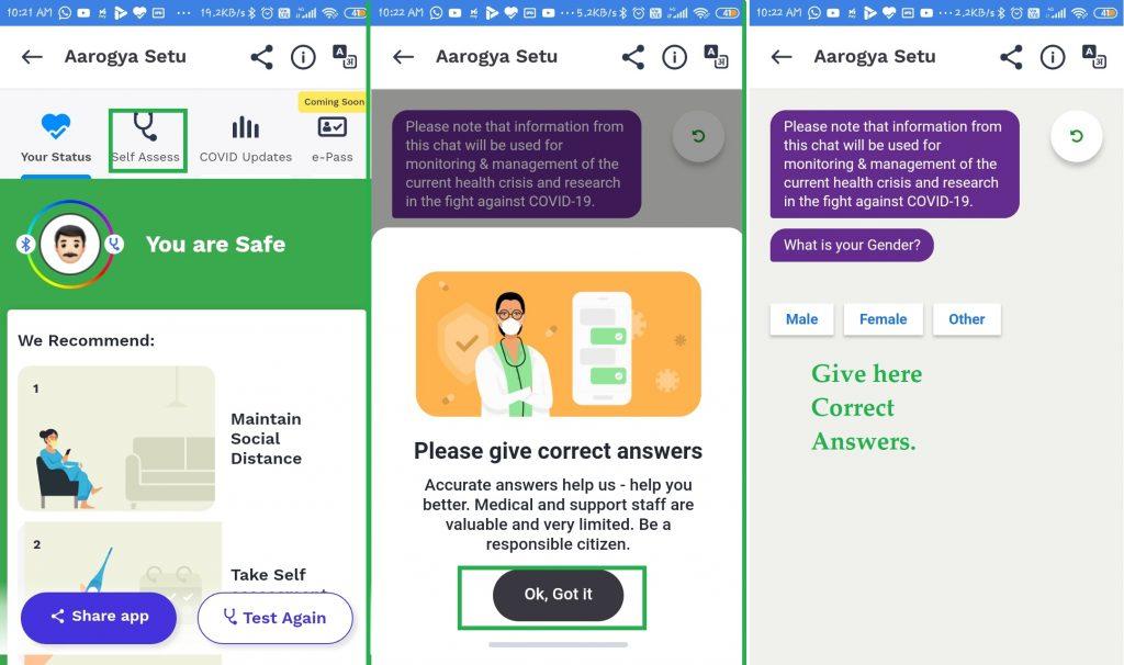 give here correct answer in self assess in aarogya setu app