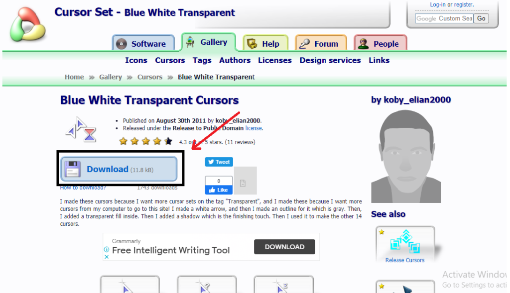 tap on download button change your mouse cursor 7 Simple Steps to change your mouse cursor