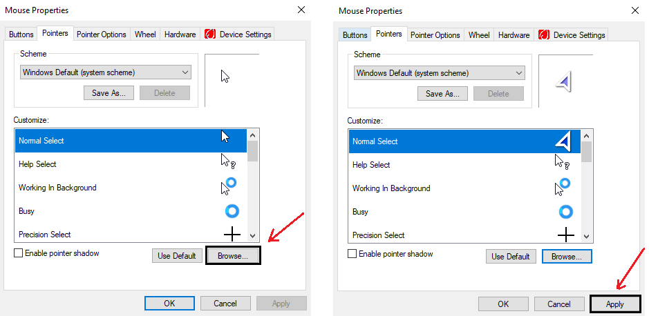 tap on browse and select your file and tap on apply and help you chnage mouse cursor 7 Simple Steps to change your mouse cursor