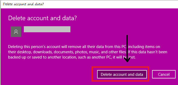 tap on delete account and data