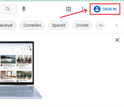 Follow tap on sign-in option on youtube