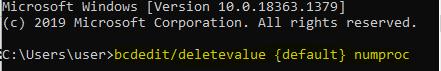 use the  bcdedit/deletevalue {default} numproc command